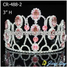 "3"" Light Pink Rhinestone Pageant Crown For Sale"