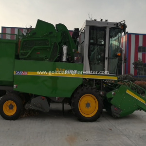 self-propelled maize corn combine harvesting