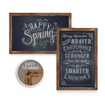 Hot sale rustic torched wall mounted wooden magnetic Chalkboard Frame