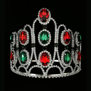 Christmas Color Rhinestone Tiara King Pageant Crown