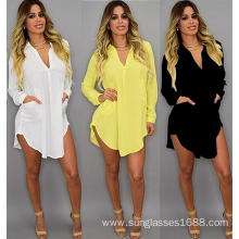 Personlized Products for Leave Casual Evening Dress Sexy Dresses Larger Size Chiffon Shirt Party Evening Dress supply to Bahrain Suppliers