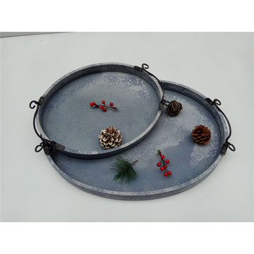 Oval Wooden Plate With Metal Handle