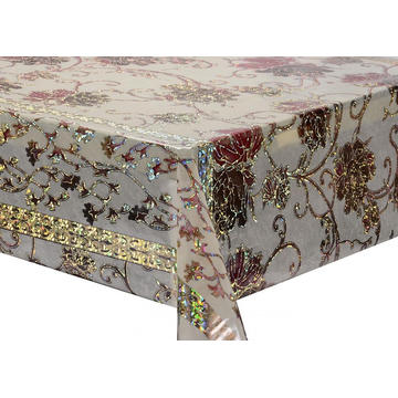 Transfer Printing Tablecloth with Silver/Gold round
