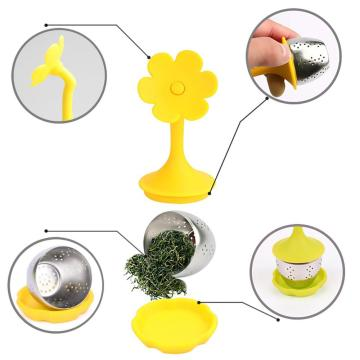 Fine Mesh Tea Balls Infuser with Drip Tray