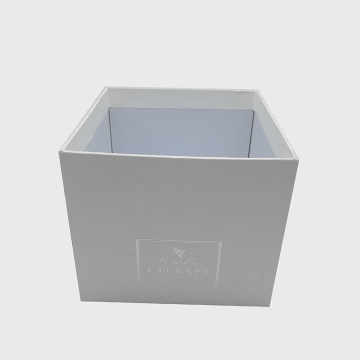 White Color Silver Stamping Rigid Cardboard Flower Box
