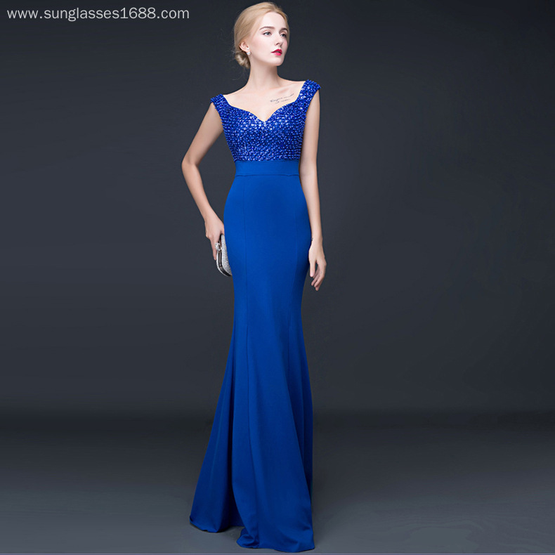 Sexy Deep V Tail Cultivate Out Backless Long Banquet Hosted Evening Dress