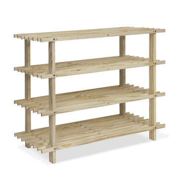 Furinno FNCJ-33005 Pine Solid Wood 4-Tier Shoe Rack, Natural
