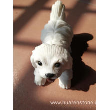 OEM for Stone Dog Statue White jade puppy carving supply to India Manufacturer