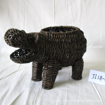 Coffee Rattan Hippo Shape Flower Pot