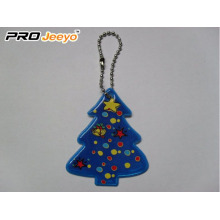 Reflective PVC Christmas tree Key Chain