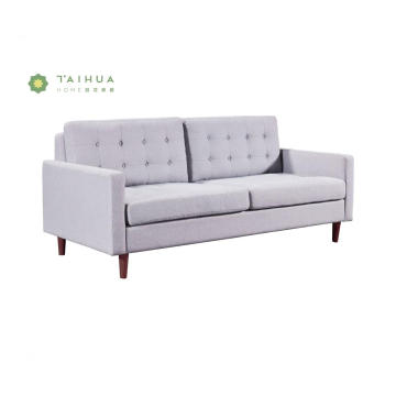 Grey Fabric Cushion Three Seat Sofa with Legs
