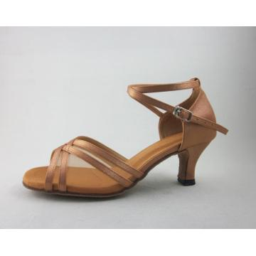 Flesh satin girls latin shoes