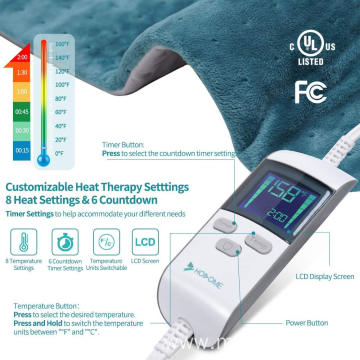 Heating Pad, China Electric Heating Pad for Pain Relief with 8 Temperature Settings, Moist Therapy Heating Pad with 6 timer