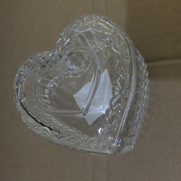 Clear And Copper Glass Heart Trinket Box