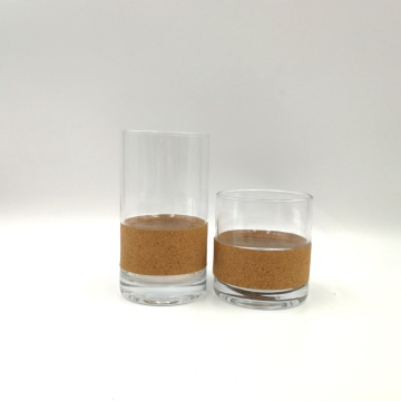 Transparent crystal glass tumbler with wood decorate for candle
