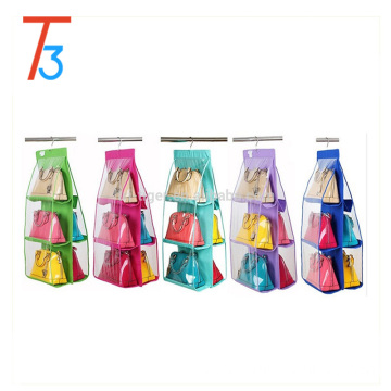 PVC 6 Pockets handbag holder hanging handbag organizer