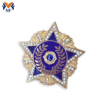 Star flower shape lapel pin badge with doamond