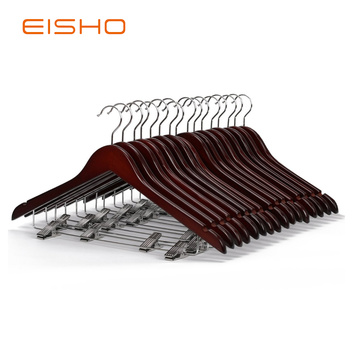 Super Purchasing for for Wooden Hotel Hangers EISHO Wood Suit Hangers With Clips For Hotel export to United States Exporter