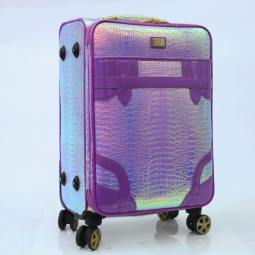 snake PU leather bright double spinner wheels luggage
