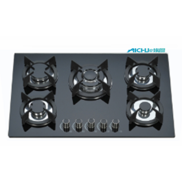 5 Burners Black Glass Gas Stove