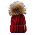 Winter Baby Slouchy Knitted Hat with Fur Pom