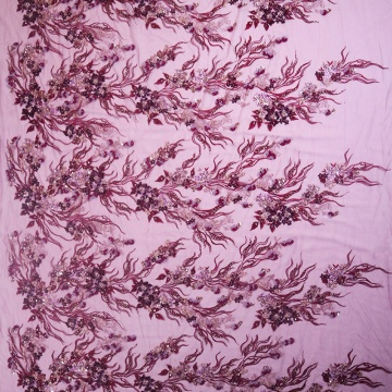Pink Pattern Embroidery Fabric Pink