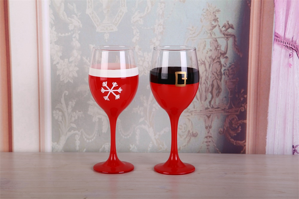 Home Decoration Hand Drawing Red Color Wine Glass Set of 2
