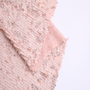 Wholesale PriceList for Chiffon Embroidery Fabric Lt Pink Polyester Chiffon Sequin Embroidery supply to Greece Supplier