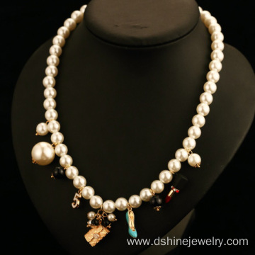 Alloy Pendant Delicate Women's Choker White Pearl Necklace