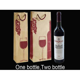 Rope Handle Printed kraft paper wine Bag