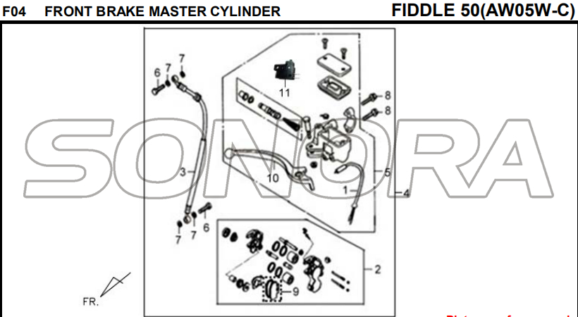 F04 FRONT BRAKE MASTER CYLINDER FIDDLE 50 AW05W-C For SYM Spare Part Top Quality