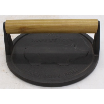 Cast iron bacon press/meat press with Wooden Handle