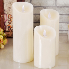 Real paraffin wax led pillar candle remote control