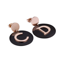 Personlized Products for Stud Earrings Rose gold big round initial stud earrings supply to Portugal Wholesale