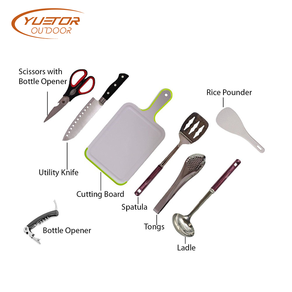 Camp Kitchen Travel Set Portable Bbq Cookware Utensils 4