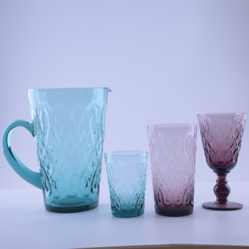 Unique Water Glass Gobleted Colored For sale