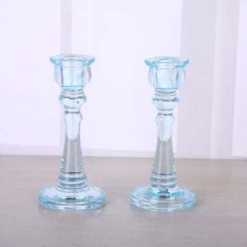 Blue Color Glass Taper Candle Holder