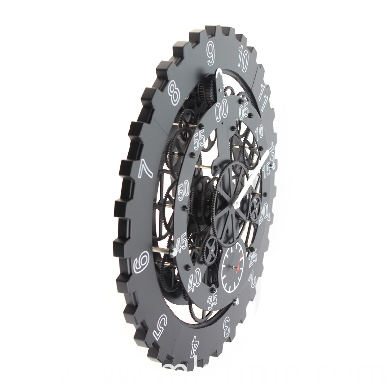 18 Inch Big Black Gear Wall Clock