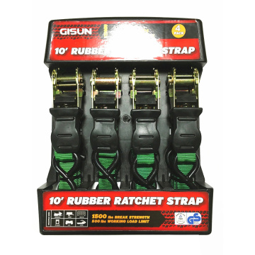"2"" 680KGS Packaged Ratchet Buckle with Rubber Handle Green Lashing Strap"