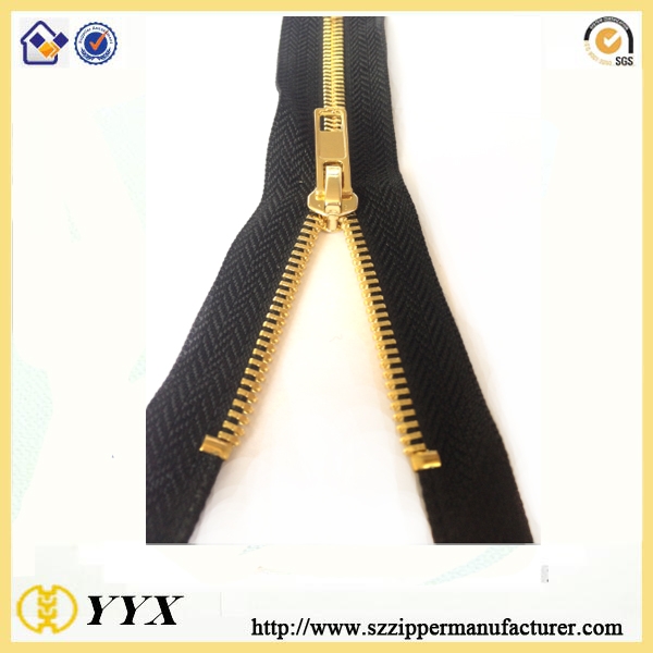 gold metal zipper