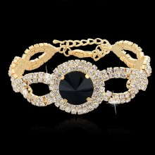 China for JingLing New Style Bracelets Cheaper Lady Jewelry Rhinestone And Copper Materials Fashion Women Bracelets Silver And Gold Gold Plated Rhinestone Crystal Bracelet Wedding supply to Serbia Factory
