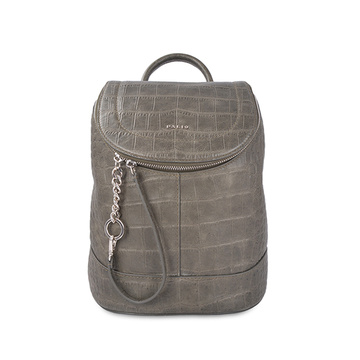 Green Boho Pack Crocodile Embossed Leather Backpack
