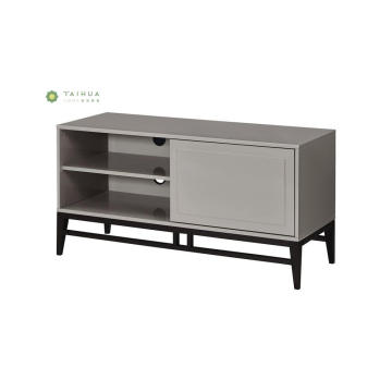 Black Solid Wood TV Stand with Sliding Door