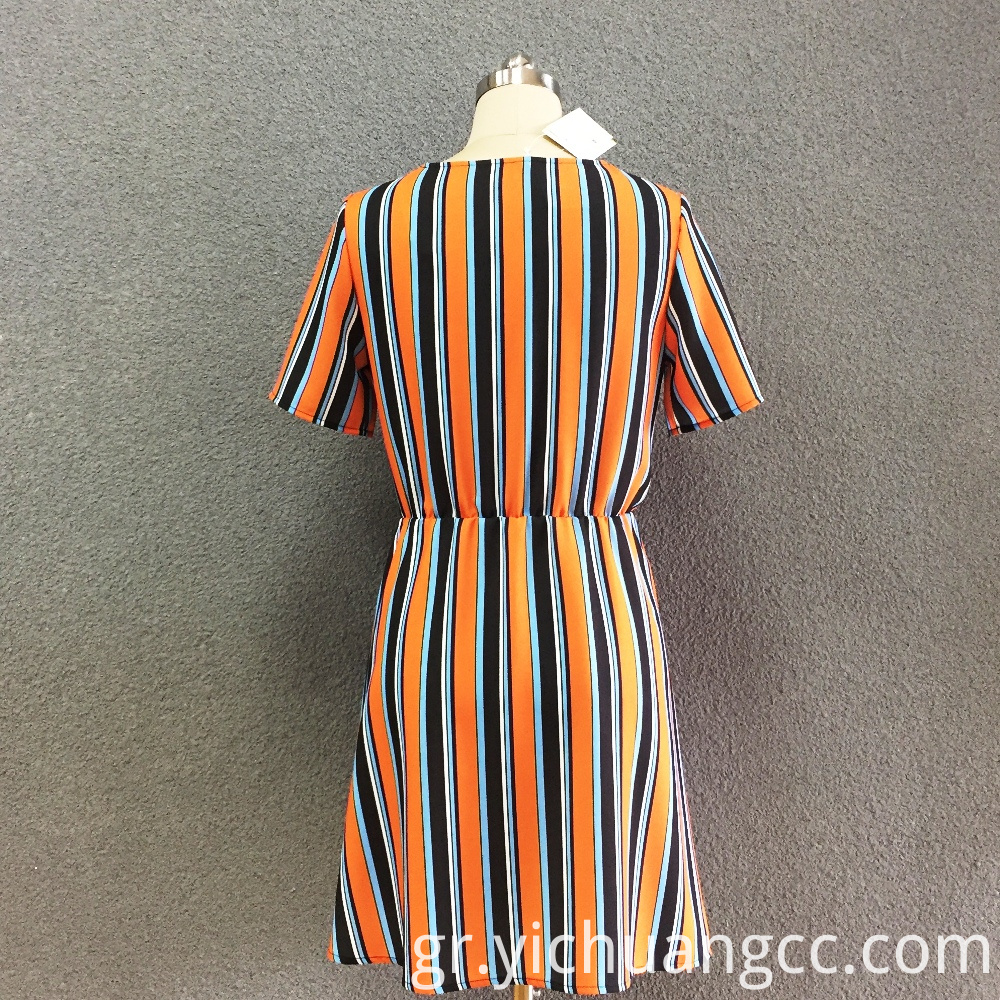 Women's polyester striped short sleeves long dress
