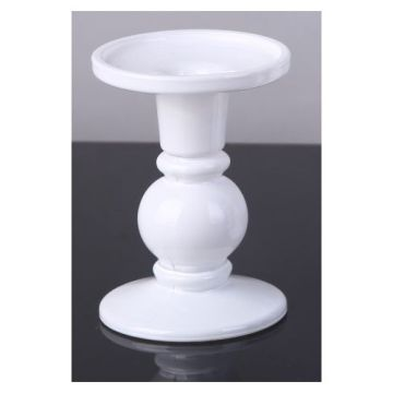 Glass Beaded White Pillar Stand