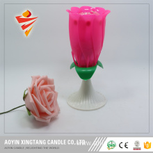Rose flower non-rotate happy birthday cake candle