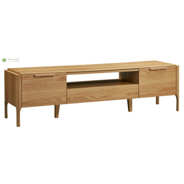 Light Walnut Wood TV Stand with Two Drawers