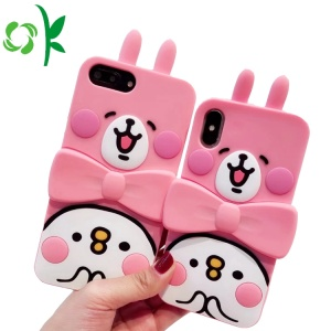 Pink Cute Rabbit Silicone Phone Protector with Holder
