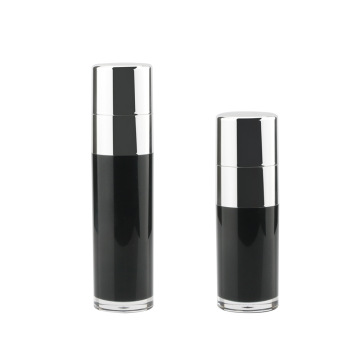 Black Acrylic Airless Pump Bottle with Silver Cap