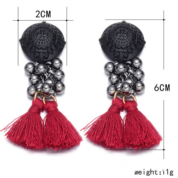 Seed Beads Earstuds Tassel Earrings
